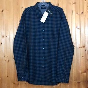 NWT Kenneth Cole XL Black & Blue Checkered Shirt